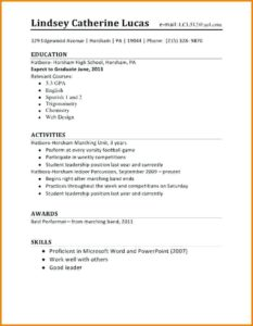 Examples Of Good Resumes For High School Students First Time